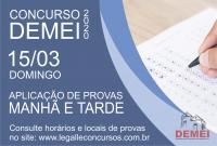 Provas do concurso 01/2020 ocorrem neste domingo 15/03